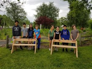Dewitt Middle School TSA students build beautiful benches for the Garden