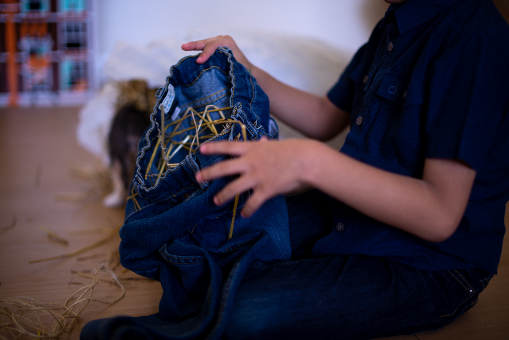 Child's hands stuffing straw into a pair of denim jeans