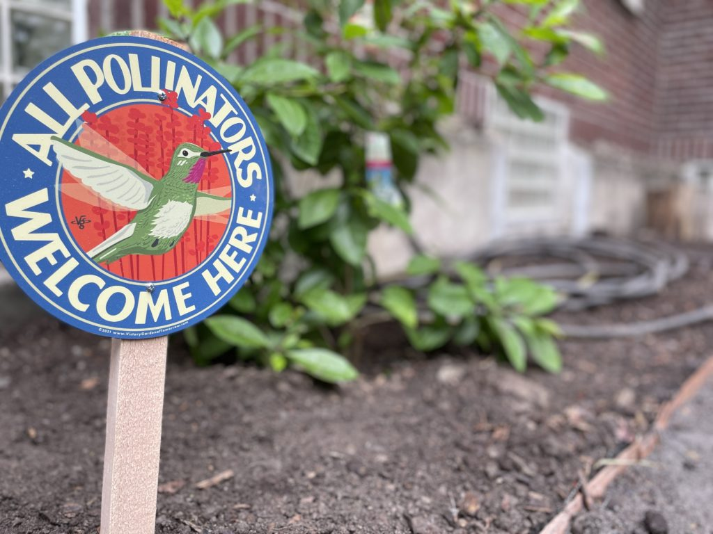 Colorful wooden sign features a hummingbird, text reads All Pollinators Welcome Here